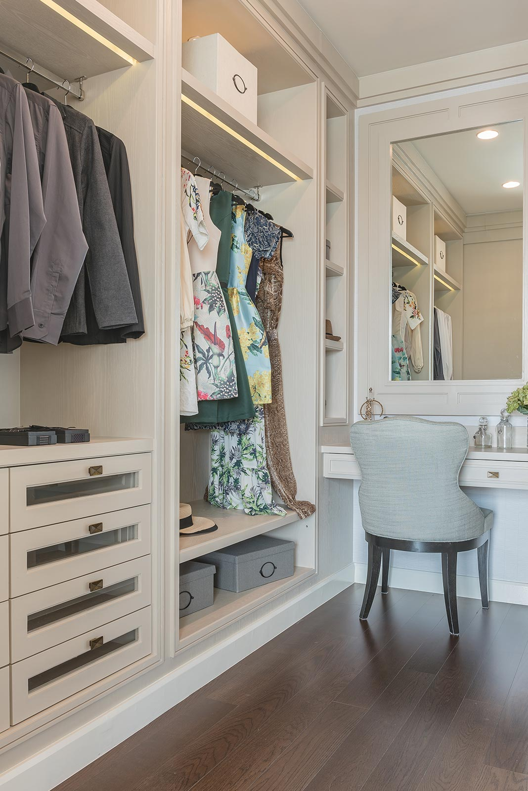 High End Vanity Built In Custom Closet | Sunset Coast Construction Services, LLC